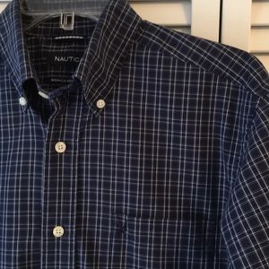 MENS NAUTICA NAVY PLAID BUTTON DOWN SHIRT EUC